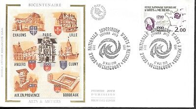 FR298) France 1980 Arts & Crafts Bicentenary SILK FDC $4.00
