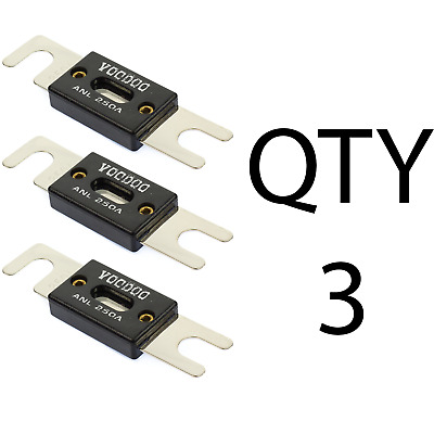 (3) QTY 3 250 Amp ANL Inline Fuse by Voodoo Car Audio For Fuse holder