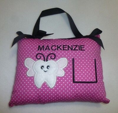 """Embroidered Dots TOOTH FAIRY PILLOW already personalized with """"MACKENZIE""""  As is"""