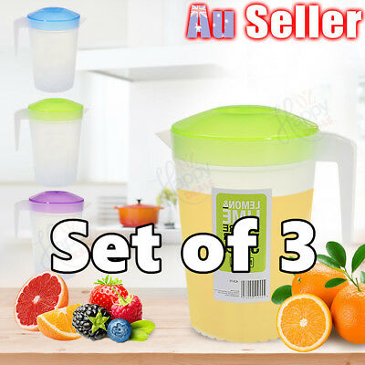 3pcs 2L Plastic Water Jug Set Fridge Water Pitcher with Lid BPA FREE