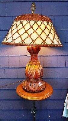 Exceptional Large Vintage Arts and Crafts Wicker and Bamboo Lamp Original Shade