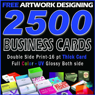 2500 Full Color UV Glossy 16pt Business Cards Printing & Design-FREE SHIPPING