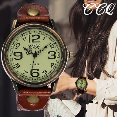 Retro Men's  Women's Casual Quartz Leather Band Analog Wrist Watch Watches Gifts