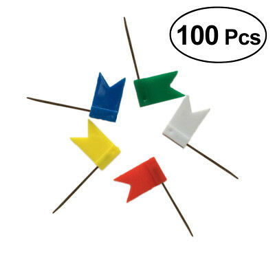 100pcs Flag Marker Shape Map Pins Notice Board Push Pin Thumb Tacks Office Home
