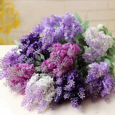 10 Heads Artificial Lavender Silk Flower Bouquet Wedding Home Party Decor Deluxe