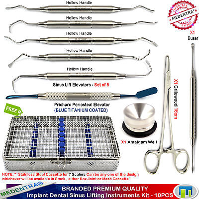 10PCS Implant Sinus Surgery Elevators Periosteal Buser Prichard CrileWood Forcep