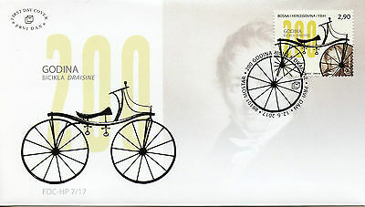 Bosnia & Herzegovina 2017 FDC Draisine Bicycle 200th 1v Cover Bicycles Stamps