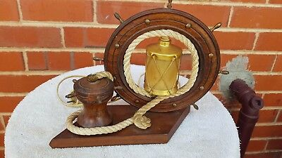 Stunning Collectable Marine Ships Wheel  Wooden Table Lamp