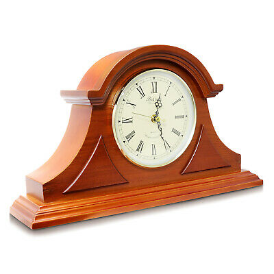 BEDFORD MAHOGANY CHERRY OAK FINISH DESK SHELF MANTEL MANTLE CLOCK with 4 CHIMES