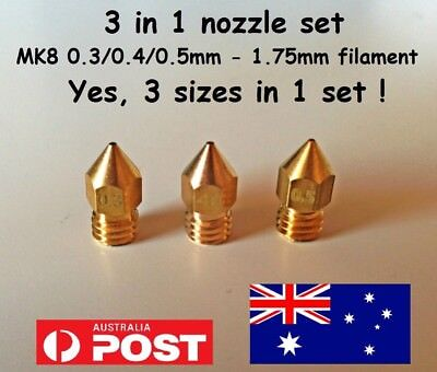 MK8 - 3 in1 nozzle set: 0.3/0.4/0.5mm (3 sizes in 1 set)1.75mm filament AU stock