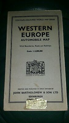 Vintage Western Europe Automobile Map John Bartholomew & Sons Ltd