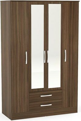 Birlea Lynx Walnut Gloss 4 Door 2 Drawer Wardrobe with Mirror - SALE DISCOUNT