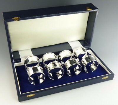 NEW - Sterling Silver - Set of 8 NAPKIN or Serviette RINGS - Boxed - Straight