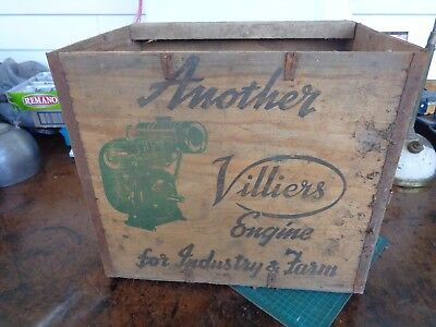 Vintage packing box  VILLIERS ENGINE, 2 printed panels