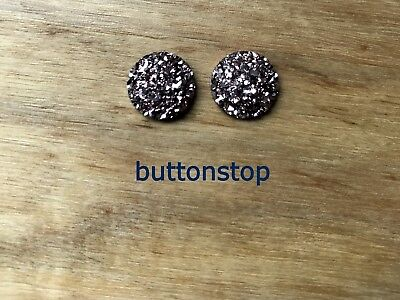 2 x 12mm cabochons - rose gold sparkle