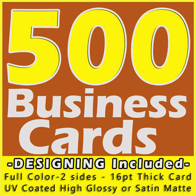 500 Business Cards Full Color 2 Side Printing UV Coated-Free Designing-Shipping