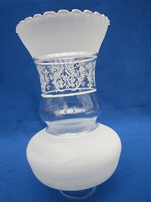 """Vintage 8"""" High White Frosted Clear Glass Lamp Shade Oil Lamp Chimney 1 3/4"""" Fit"""