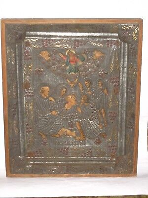 "Antique 19c Russian Orthodox Printed on paper Icon ""The birth of Jesus Christ""."