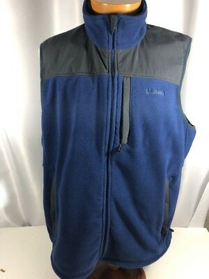 LL Bean Mens XLT Tall Fleece Full Zip Vest 3 Pockets Blue Gray Embroidered Logo