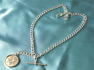 Quality Masonic Badge Old Silver Look Double Albert Pocket Watch Chain Solid
