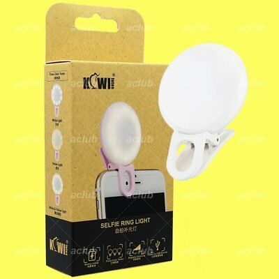 JJC SRL-20 Rechargeable Dimmable 3 Colors LED Selfie Clip On Ring Light - White