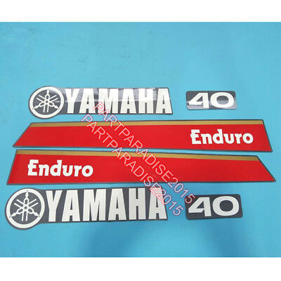 Yamaha 40hp Enduro Outboard Decal Kit Reproduction Decals fit 40hp motor