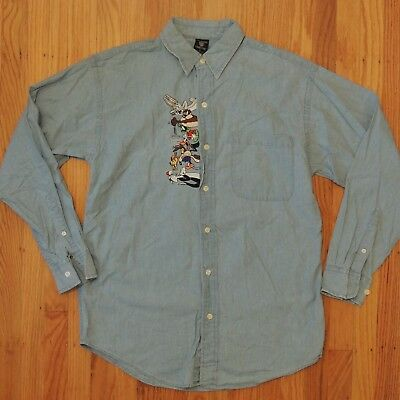Warner Bros Vintage Denim Button Up Shirt Embroidered Bugs Taz Marvin Sz Small