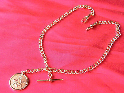 Quality Masonic Badge Double Albert Pocket Watch Chain Rose Gold Tone Solid