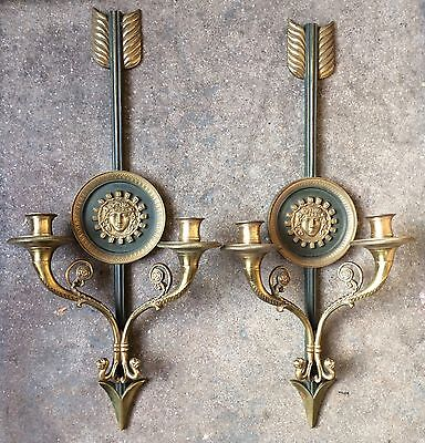 Superb Pair of Signed French Gilt & Patinated Bronze Sconces, P. Fourcoux c 1930