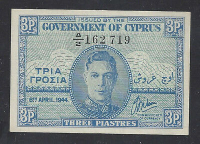 """UNC"" 1944 Cyprus 3 Piastres P-28a ""A2 162719"", #019"
