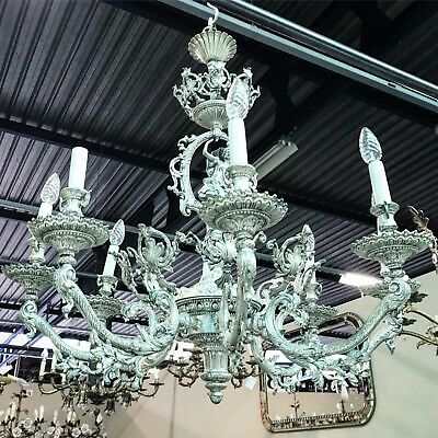 MEGA RARE, 19thC, Silver Plated, Carved Chandelier, Unreal Carvings, Antique