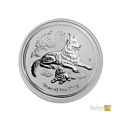2018 Australian Year of the Dog 2 oz Pure 999 Silver Bullion Coin unc in Capsule