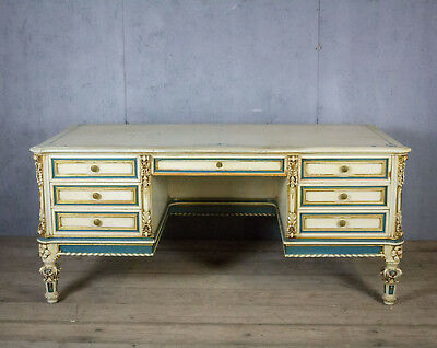 Stunning, Antique Italian Pedestal Desk, Vintage, Original Paint, RARE