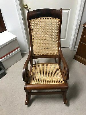 Antique Cane And Wood Rocking Chair    In Great Shape