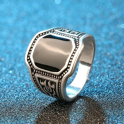 Men Silver Plated Euro Style Black Signet Ring Size 7-10 US Fast Free Shipping!