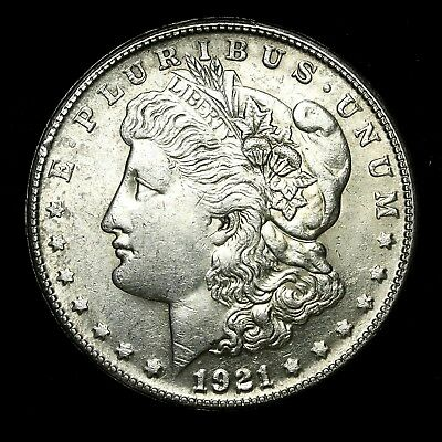 1921 S ~**ABOUT UNCIRCULATED AU**~ Silver Morgan Dollar Rare US Old Coin! #529