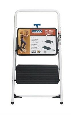 """Cosco Folding Two Step Stool 200 Lb. Capacity 17"""" Gray Pack of 4"""