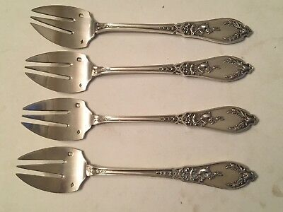 Antique French Sterling Silver Ornate 4 Rare Ice Cream Forks 5 1/8 In. 118 GMS