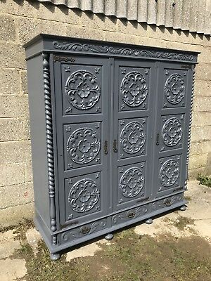 Stunning Antique French Armoire, Painted, Original, Knockdown