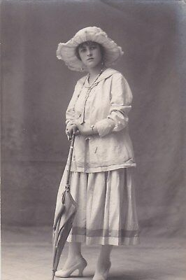 EGYPT OLD VINTAGE PHOTOGRAPH . CUTE LADY WITH Umbrella & hat