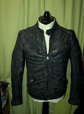 NWT SUPERDRY mens dk grey zip leather motorcycle heavy jacket size L runs small