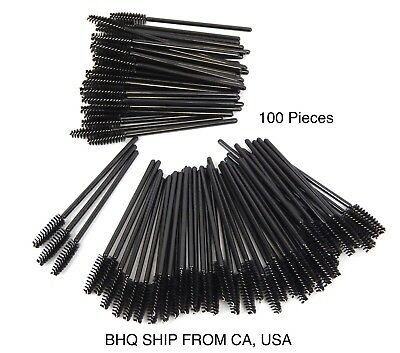 100 Disposable Eyelash Extension Brushes Black Mascara Wands Applicator