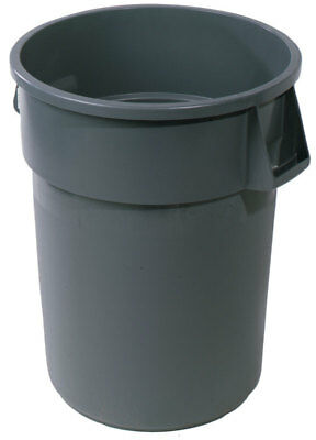 """Rubmaid Commercial Trash Can 44 Gal 24 """" D X 31-1/2 """" H Round Plastic Gray-PK 4"""
