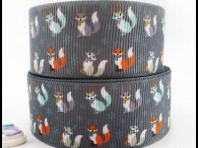 Foxes 25mm Grosgrain Ribbon 3 Meter Length Hair Bows Craft Sewing