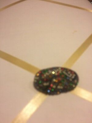 Vintage Antique Art Deco Multi Color Rhinestone Brooch Pin