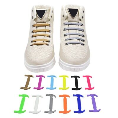 12 pcs Easy No Tie Shoelaces Elastic Silicone Flat Shoe Lace For Kids Adults