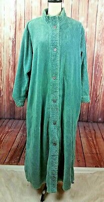 Vntg Comfort Choice Chenille Button Bath Robe Womens Size Large Green housecoat