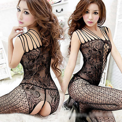 Sexy Black Open Crocth Bodystocking Bodysuit Sleepwear Lingerie One Size #4