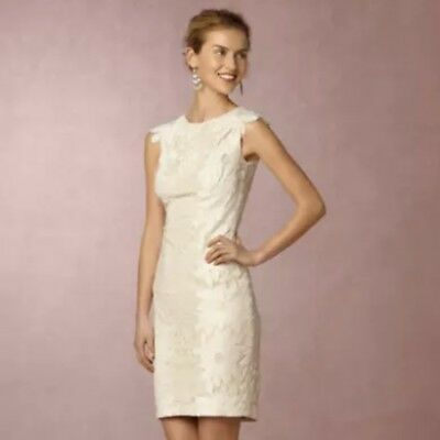 f48f3169e91 Tadashi Shoji BHLDN Ivory nude lace dress sheath size 12 Bridal Wedding