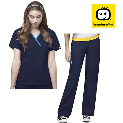 Womens Scrub Set - Mock Wrap Nurse Top with Pant for Medical Beauty Uniform